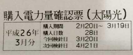 今月の電気使用料金と売電料金(2014年2月20日から3月19日まで)