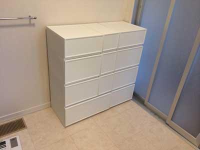 脱衣・洗面所にオシャレで収納力のあるケース棚がやっと来たよ
