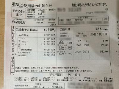 今月の電気使用料金と売電料金(2014年7月22日から8月20日まで)のお知らせが届きましたが期待はずれでした。